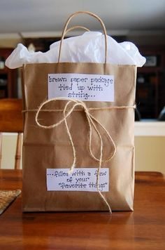 """""""Brown paper package tied up with string... filled with a few of your favorite things"""". Perhaps for a care package?"""