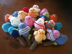 Cute crocheted baby rattles! I have this pattern but these color combos are adorable. :) # Pin++ for Pinterest #