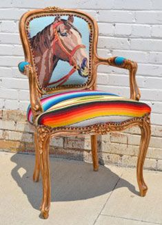 Mexican Blanket becomes upholstery with horsey needlepoint!