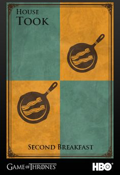 "BookRiot creates house sigils via Game of Thrones site for literary characters! ""Second Breakfast!"""