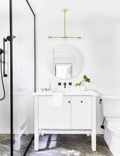 Our Go-To Cabinet Hardware Placement   60 Of Our Shoppable Favorites - Emily Henderson #hardware #kitchentrends #bathroomtrends #cabinethardware Modern White Bathroom, Beautiful Bathrooms, Small Bathroom, Master Bathroom, Bad Inspiration, Bathroom Inspiration, Marble Bathroom Accessories, Bathroom Storage Solutions, Scandinavian Bathroom