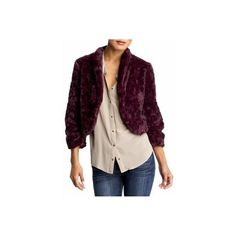 ELLA MOSS TINA FAUX FUR CROP JACKET BURGUNDY SIZE XS ❤ liked on Polyvore featuring outerwear, jackets, faux fur cropped jacket, ella moss, fake fur jacket, cropped jacket and faux fur jacket
