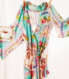ankle length silk floral kimono #kimono #fashion