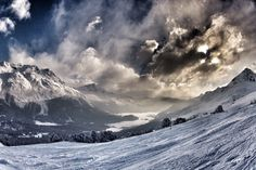 St Moritz / View from the mountain of the frozen lake