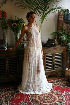 Bridal Embroidered Halter Top and Skirt Set Beach Wedding