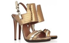 METALLIC LIZARD AND LEATHER SANDALS  BY REED KRAKOFF
