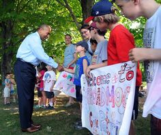 Gov. Deval Patrick greets each of the children in Broadmoor Wildlife Sanctuary's summer camp who waited to welcome him. Patrick visited Broadmoor to announce Cultural Facilities Fund grants, including $185k for a renovation project there.