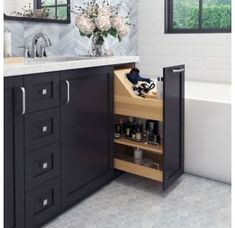 Hardware Resources No Wiggle 8 Inch Vanity Cabinet Pullout with Soft-Close Under. - Hardware Resources No Wiggle 8 Inch Vanity Cabinet Pullout with Soft-Close Under… - Bathroom Renos, Bathroom Renovations, Master Bathrooms, Master Bathroom Vanity, Boho Bathroom, Marble Bathrooms, Ikea Bathroom, Industrial Bathroom, Master Bathroom Layout