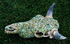 Cow Skull Mixed Stone by BumsteerStudios on Etsy, $300.00