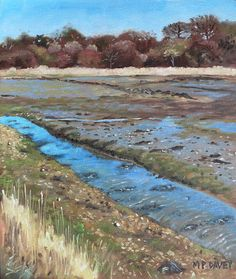 River Hamble Lagoon Hampshire, painting by Martin Davey