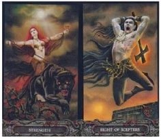 Friday's Tarot: STRENGTH + 8 OF SCEPTERS (Tarot of Vampyres) – Your inner strength today will help you move forward instead of holding back.  And the 2 of Scepters/Wands indicates that things may indeed be moving quickly today and/or YOU need to act quickly.  You need to be prepared to act – and not hold back, or you can lose out.  Things can just pass you by if you allow it.