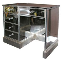 1940's Mirrored Silver Trim Vanity Desk | From a unique collection of antique and modern desks and writing tables at http://www.1stdibs.com/furniture/tables/desks-writing-tables/