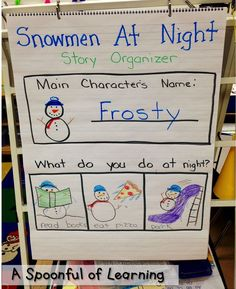 Snowmen At Night Organizer A Spoonful of Learning: Snowman Fun! Kindergarten Anchor Charts, Kindergarten Activities, Preschool Literacy, Literacy Activities, Preschool Winter, Snowmen At Night, Snow Theme, Winter Theme, 1st Grade Writing