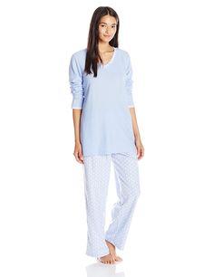 0073ab9b08 lanz Women s Thermal Top Microfleece Pajama Set - Blue White - C812HJOVYDD
