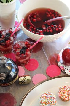 Cham Berry Punch - 1 cup @ChambordUS  - 1 750ml bottle white wine - 1 cup blackberries - 1 cup raspberries - 1 cup cranberries. Mix all ingredients in punch bowl and serve individually over ice. #valentine #party #cocktail