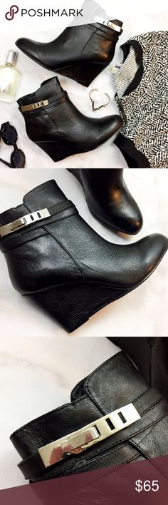 """Black Leather Wedge Booties Details: * Size 8.5 * Leather * Side zip * 3.5"""" wedge heel * Brand new in box  10171601 Chinese Laundry Shoes Ankle Boots & Booties"""