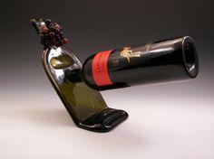 Upcycled Balancing Wine Bottle Holder/Melted Wine by ckb1015, $30.00