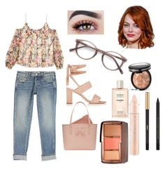 """Sin título #15"" by yumary-v on Polyvore featuring moda, AMO, Manolo Blahnik, Elizabeth and James, Ted Baker, Laura Geller, Ace, Chanel, Yves Saint Laurent y Hourglass Cosmetics"