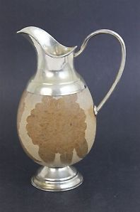 Vintage Sterling Silver 925 South American Floral Carved Gourd Pitcher