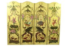 A whimsical vintage hand painted Chinoiserie floor screen.