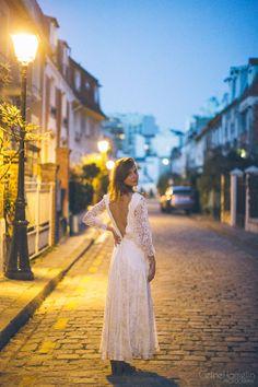 1980 Robe de mariée dentelle de Calais modèle par SergineBroallier, €500.00