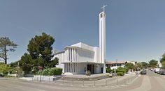 Église Notre-Dame des Flots - 1956-66 by Raymond Morin - #architecture #googlestreetview #googlemaps #googlestreet #france #capferret #brutalism #modernism