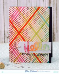 Rainbow Plaid Hello Card by Betsy Veldman for Papertrey Ink (May 2015)