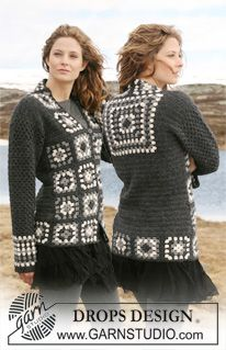 """Free Crochet DROPS jacket in 2 threads """"Alpaca"""" with squares and dc-pattern. Size S to XXXL."""