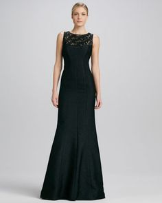 Sleeveless+Lace+Illusion-Neck+Gown+by+David+Meister+Signature+at+Neiman+Marcus.