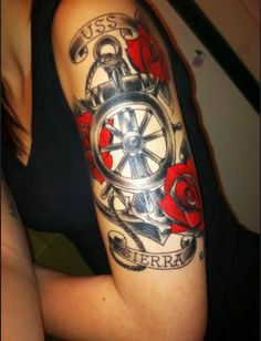 Navy tattoo idea....for my dad who served in Vietnam....waaay smaller though & on the forearm.  Love the colors.