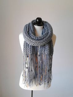 Knit scarf infinity scarf knitted scarf winter scarf by PlexisArt