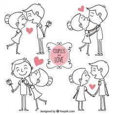 Hand drawn couples in love Free Vector