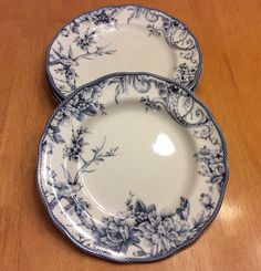 """222 Fifth Round Dinner Plates. Adelaide Blue. Set Of 4 Size 11"""" Beautiful. New #222Fifth"""