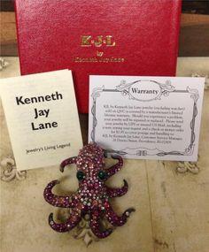New Box Kenneth Jay Lane Atlantis Octopus Persian Rose Pink Crystal Brooch Pin   eBay