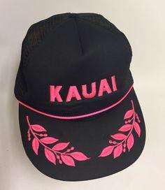 1c9cac3f755 Vintage Kauai Hawaii Snapback Mesh Trucker Hat Tiki Black Hot Pink Letters.  Kauai HawaiiSnapbackHawaiianSnapback HatsBaseball Hat