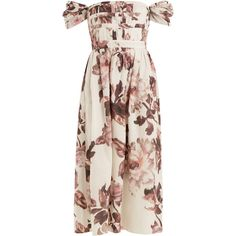 Brock Collection Demi floral-print cotton dress ($2,767) ❤ liked on Polyvore featuring dresses, pink multi, floral print dress, pink floral dress, floral day dress, side cut-out dresses and floral printed dress