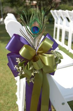 Ceremony Chair Decor using Selected Bridal Color Theme for Ribbons