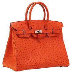 Sac Hermès Birkin 35 Orange Autruche Argent materiel