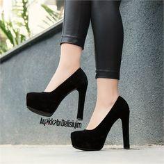 Egula Süet Siyah Kalın Topuklu Ayakkabı #heels #platforms
