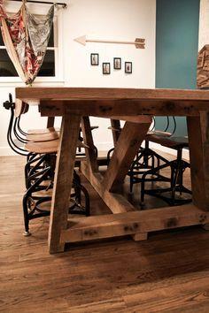 Ellis Farm Table by KithandKinStore on Etsy. I like the V shape of the base. Kinda reminds me of a sawhorse...