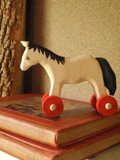 push toy horse/ tried and true / classic wooden folk toy by prettydreamer #children
