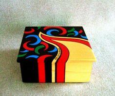 Items similar to Unique Painted Box Black Box Red Box Green Box Blue Box Keepsake Box Jewelry Box Wedding Gift Birthday Present Office Decor Home Decor on Etsy Painted Wooden Boxes, Wood Boxes, Hand Painted, Office Gifts, Office Decor, Canvas Art Projects, Green Box, Blue Box, Old Jewelry