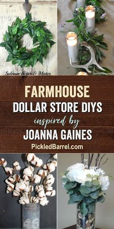 Farmhouse Dollar Store DIY Projects Inspired by Joanna Gaines - An Inspiring Collection of Farmhouse Dollar Store DIY Decorations! Today we're sharing more farmhouse Dollar Store DIY projects inspired by Joanna Gaines! Diy Home Decor On A Budget, Unique Home Decor, Vintage Home Decor, Cheap Home Decor, Modern Decor, Dollar Store Crafts, Dollar Stores, Dollar Dollar, Thrift Stores
