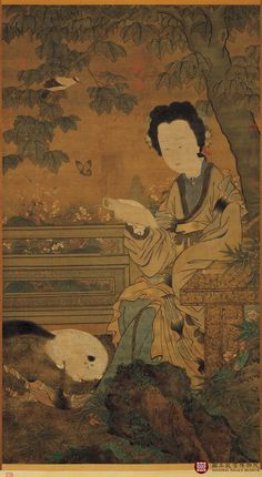 Lady Reading with Cat | ink and color painting, 13th century | Zhou Wenjiu ----------------------------------------------- National Palace Museum, Taipei