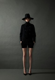 THE RERACS SS 2013 (designer) : floppy hat + car coat + runner shorts + heels