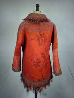 Nuno Felt Jacket -Reversible-  Elisabeth Berthon www.lolabastille.com Nuno Felting, High Neck Dress, Turtle Neck, Bastille, Impression, Sweaters, Jackets, Paris, Dresses