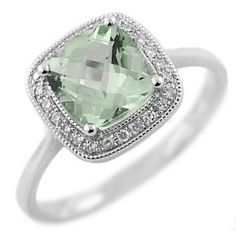 THIS IS MY FAVORITE SO FAR....Cushion-Cut Green Amethyst & Diamond Ring 14k Gold - Green Amethyst by Bell Jewels
