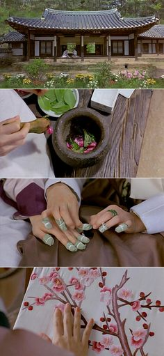 color her fingernails with balsam(Korean traditional nail polish) _ Korea Movie 'Untold Scandal' Korean Hanbok, Korean Dress, Korean Crafts, Korean Nails, Korean Traditional Dress, Korean Design, Korean Wave, North Korea, Nail Polish