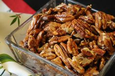 Crunchy Caramelized Nuts Save Print Nuts carmelized in the microwave–shiny, sweet and crunchy Nut Recipes, Snack Recipes, Snacks, Candy Recipes, Dessert Recipes, Big Meals, Family Meals, Spiced Nuts, Salad In A Jar