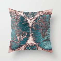 Antique World Map Pink Quartz Teal Blue by Nature Magick Throw Pillow by naturemagick - Boardwalk. Teal And Copper Bedroom, Bronze Bedroom, Copper Living Room, Navy And Copper, Teal Living Rooms, Bedroom Turquoise, Gold Bedroom, Teal And Grey, Teal Blue